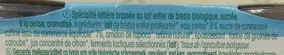 Tendresse Cerise, Brassé de brebis Bio - Ingredients