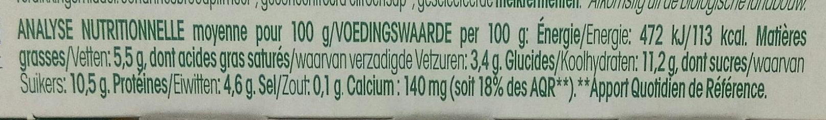 Tendresse Cerise, Brassé de brebis Bio - Nutrition facts