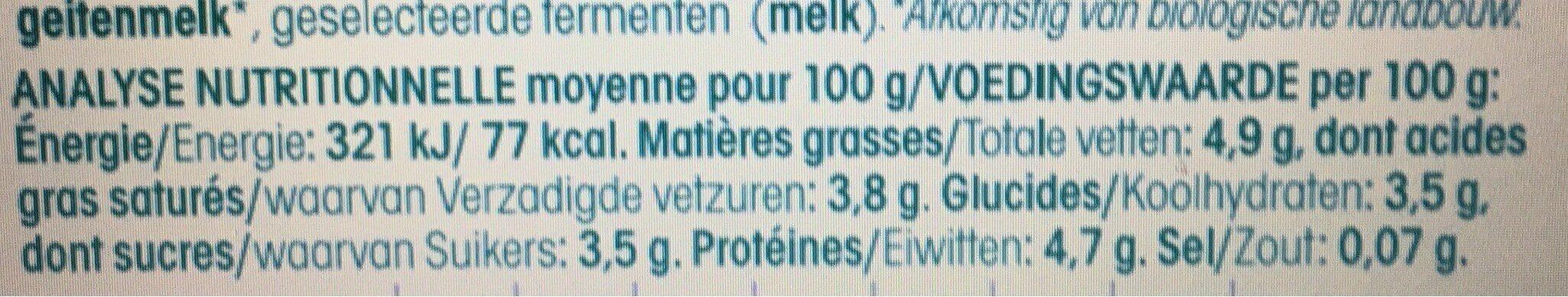 YAOURT CHEVRE BIO - Valori nutrizionali - fr