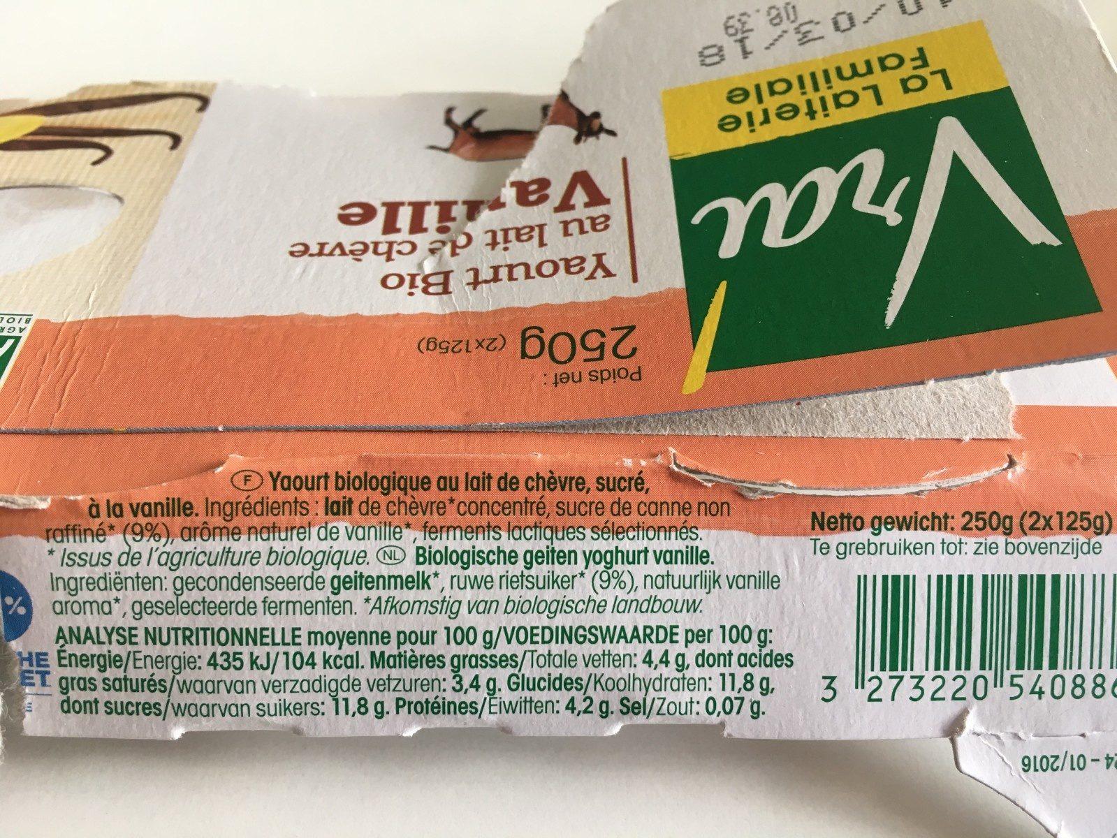 Yaourt bio au lait de chèvre Vanille - Inhaltsstoffe - fr