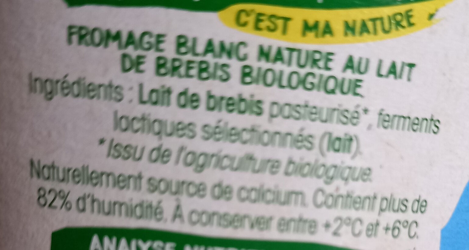 Fromage blanc au lait de brebis - Ingredienti - fr