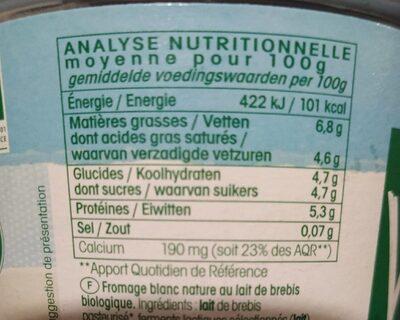 Fromage blanc au lait de brebis - Informations nutritionnelles - fr