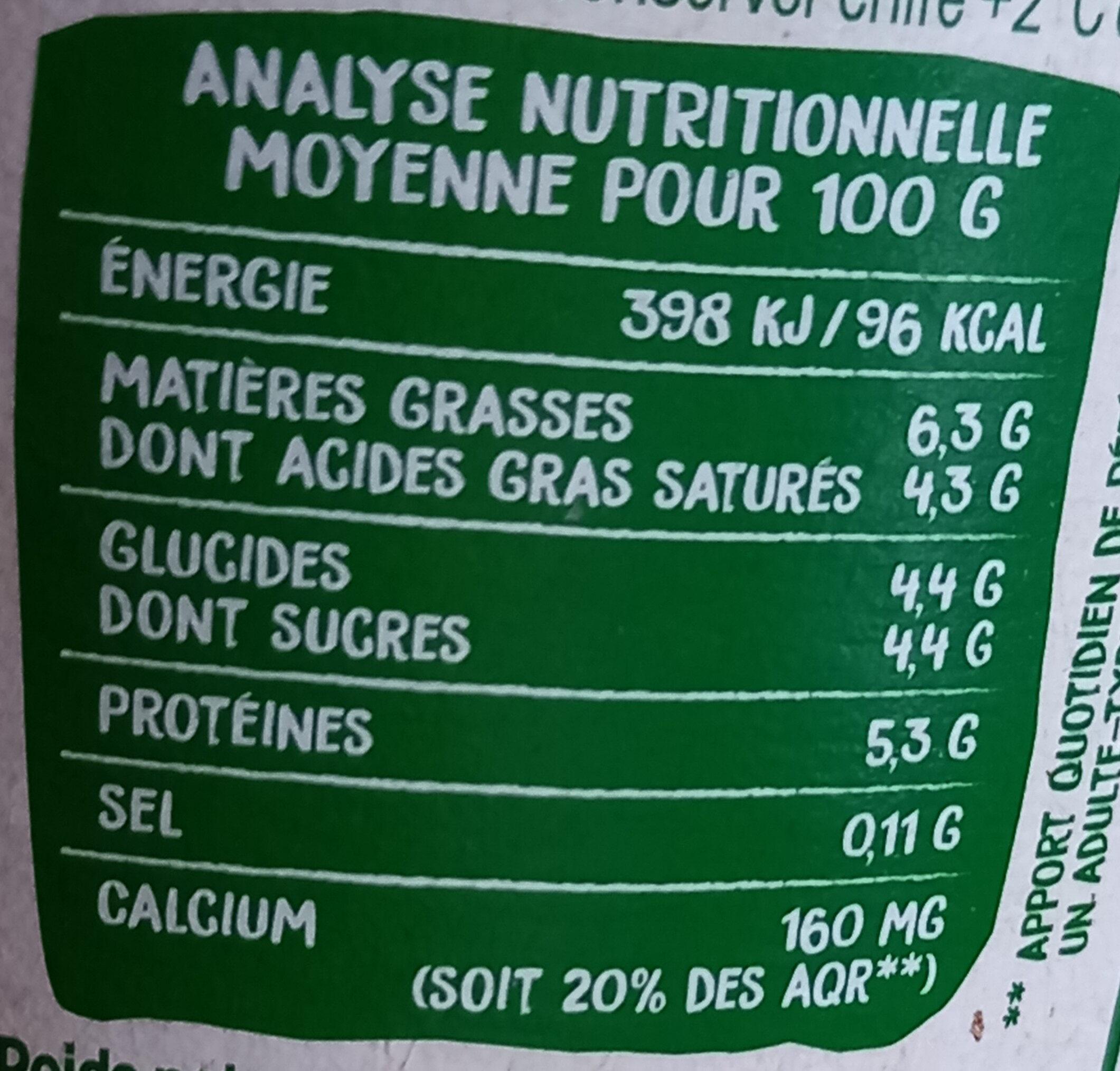 Fromage blanc au lait de brebis - Valori nutrizionali - fr