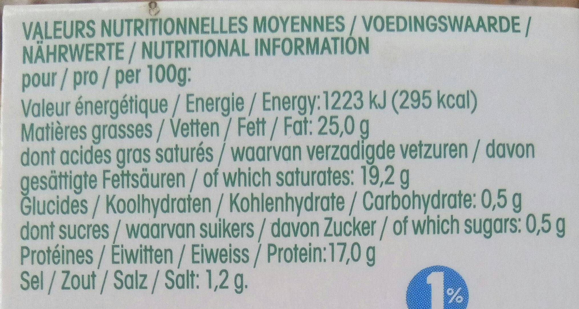 Fromage affiné au lait de chèvre - Informations nutritionnelles - fr