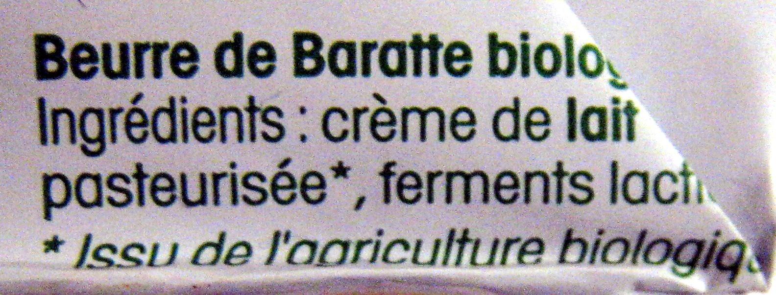 Beurre de baratte doux Bio Vrai - Ingredients - fr