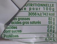 Beurre de baratte doux Bio Vrai - Nutrition facts - fr