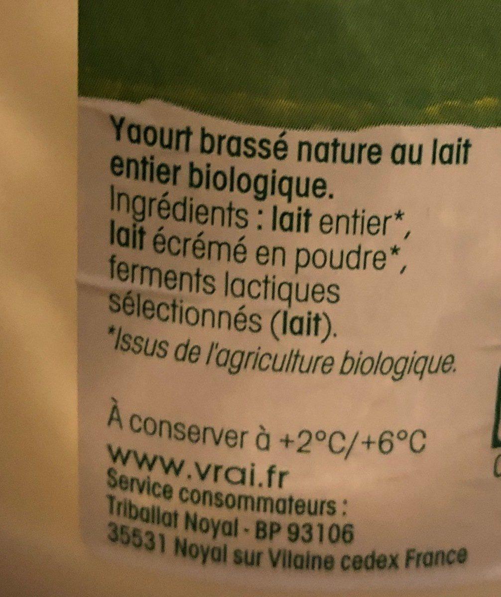 Yaourt Bio brassé nature - Ingredients