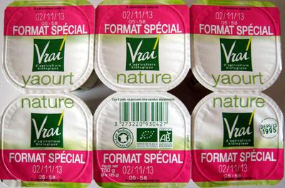 yaourt nature bio format spécial vrai 750 g 6 x 125 g