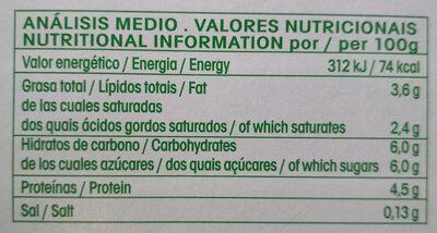 Vrai ecológico yogur natural - Informations nutritionnelles - es