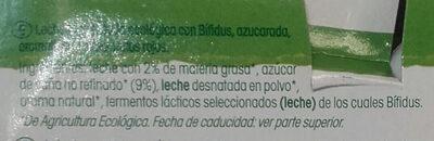 Yogures Vifidus Vrai ecológico - Ingrédients - es