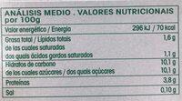 Yogures Vifidus Vrai ecológico - Informations nutritionnelles - es