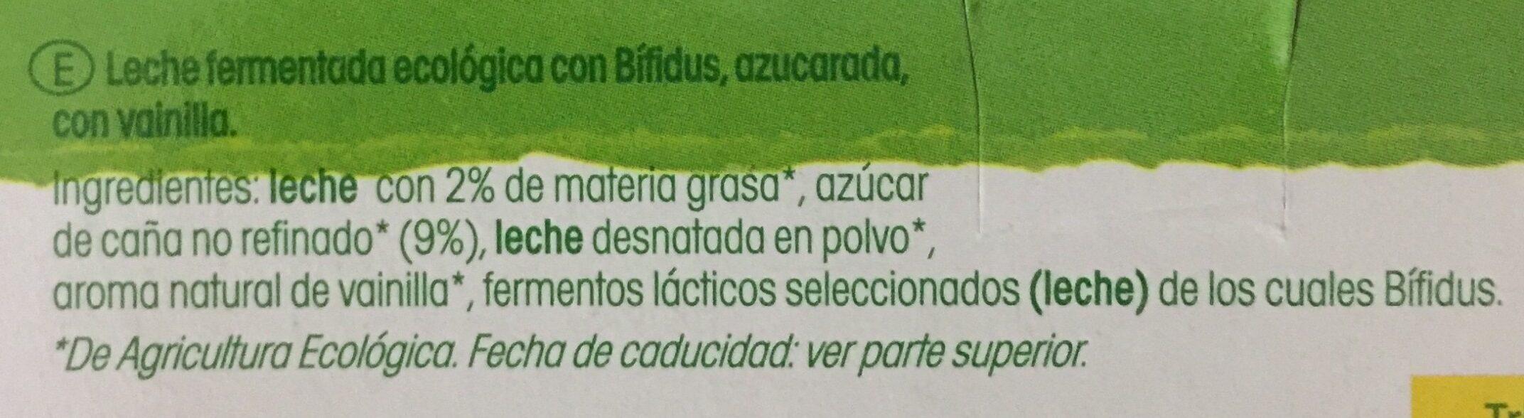 Bífidus sabor vainilla ecológico - Ingredientes
