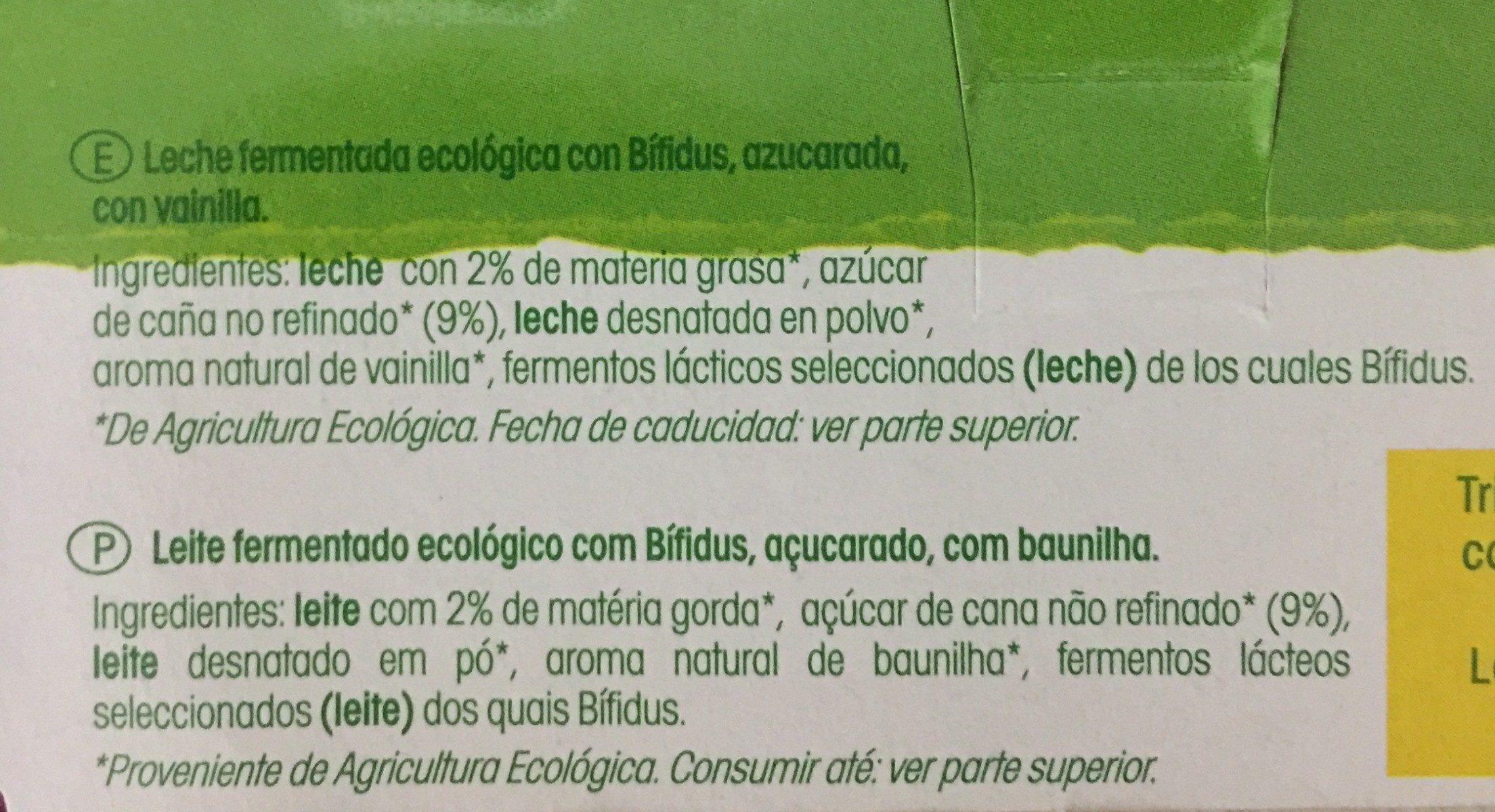Bífidus sabor vainilla ecológico - Ingrédients - fr