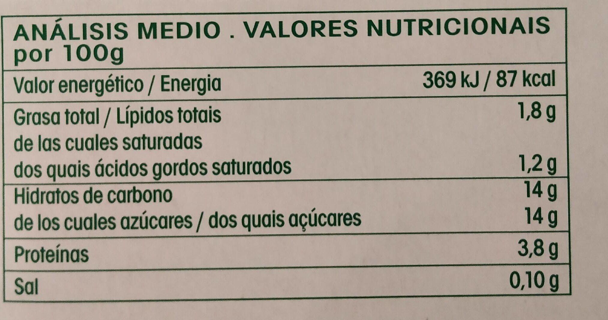 Bífidus sabor vainilla ecológico - Información nutricional