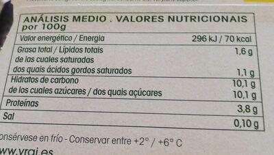 Bífidus sabor vainilla ecológico - Informations nutritionnelles - es