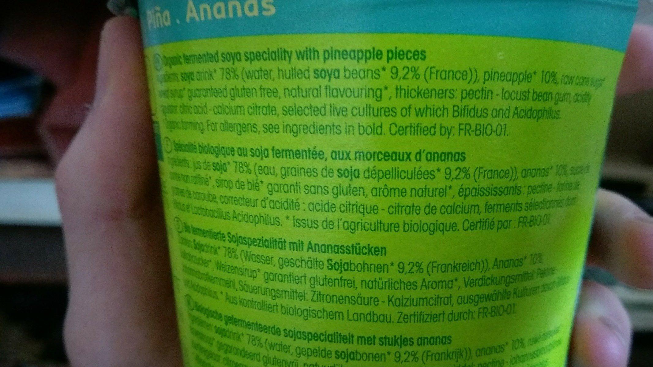 Sojade, Ananas - Ingredients - fr
