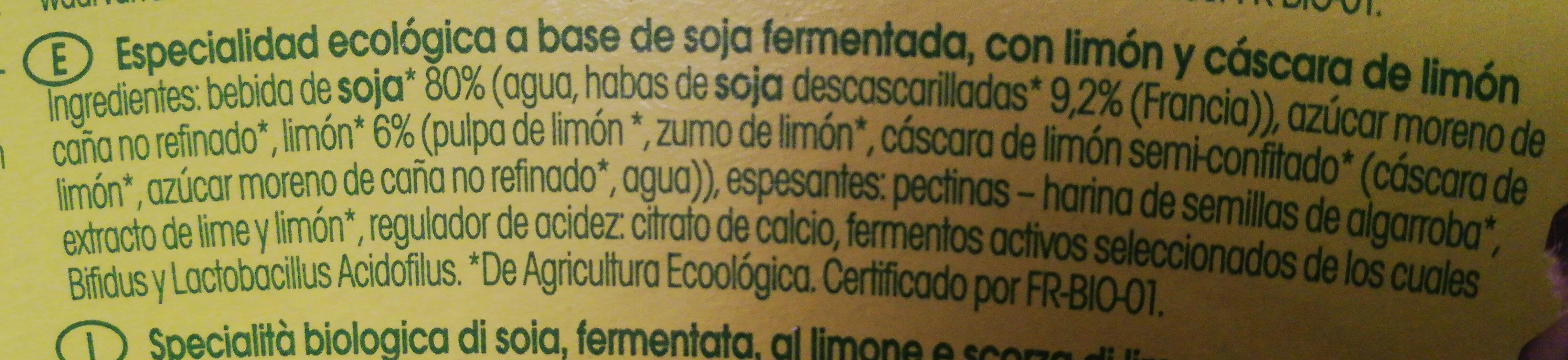 Sojade Lemon - Ingrédients - es