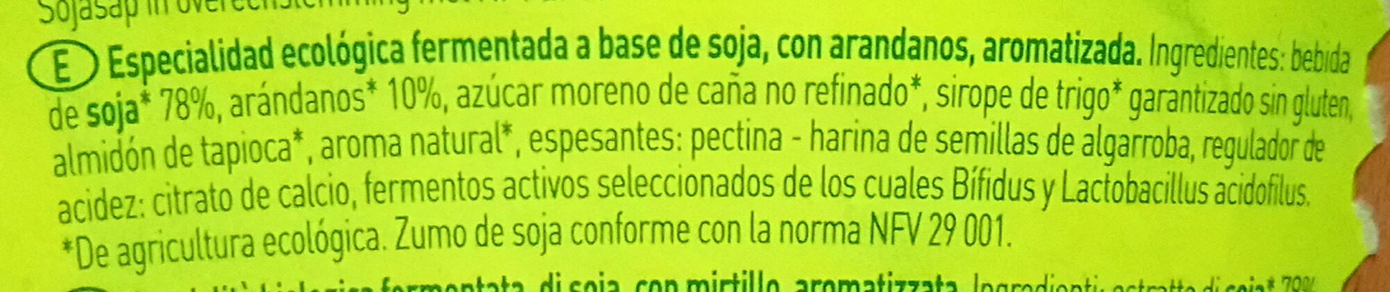 Sojade Soja Spezialität Heidelbeere - Ingredientes - es