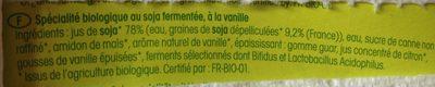 Bio Soja Joghurt Vanille - Ingredients