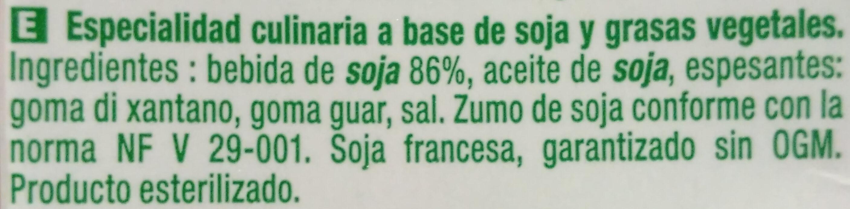 Cuisine Soja - Sojasun - Ingredients - es