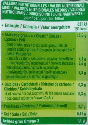 Cuisine Soja - Sojasun - Nutrition facts