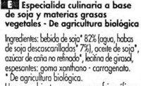 Soja Cuisine (17 % MG) - Ingredientes