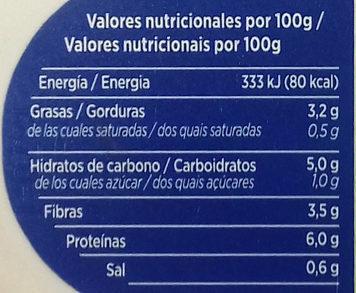 Untable Vegetal Natural - Información nutricional