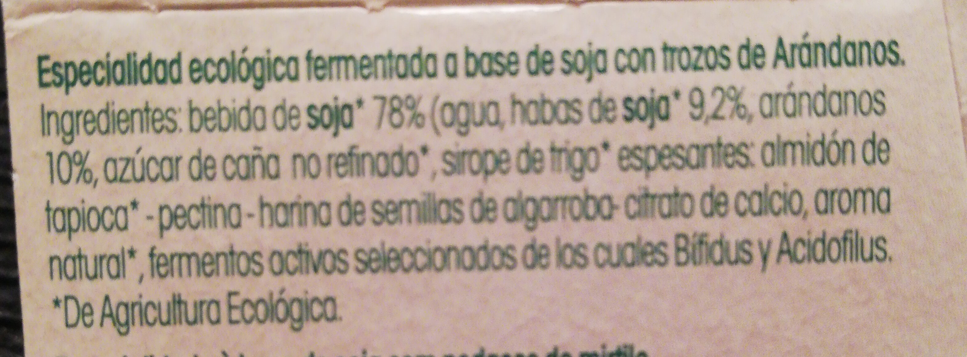 Especialidad vegetal de soja sabor arándanos - Ingredients - es