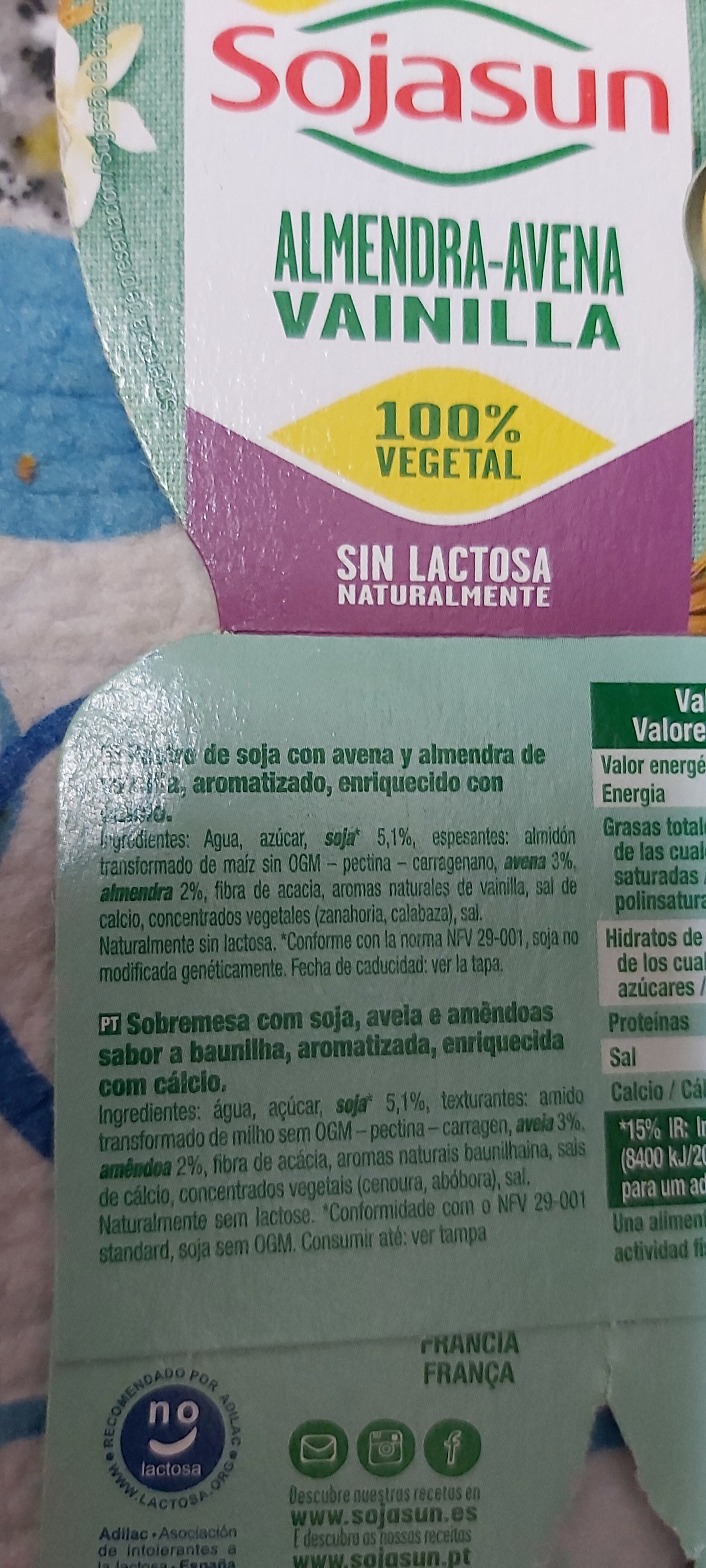 Natillas almendra-avena - Ingrédients - es