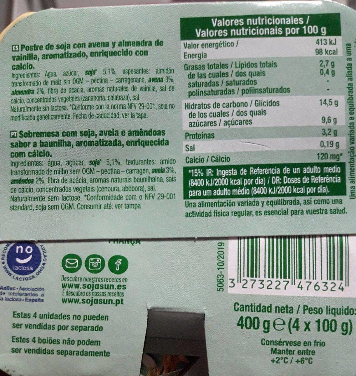 Natillas almendra-avena - Informations nutritionnelles - es