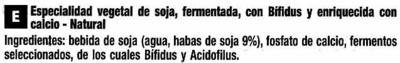 Postre de soja natural + bífidus - Ingredientes