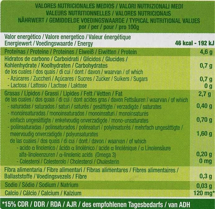 Postre de soja natural + bífidus - Información nutricional