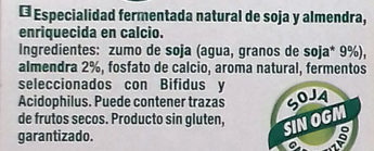 Postre de soja natural con almendra - Ingredients - es