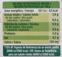 Postre de soja natural con almendra - Nutrition facts - es