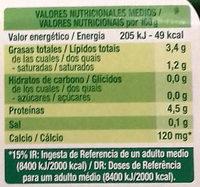 Sojasun natural coco - Información nutricional