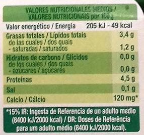 Sojasun natural coco - Informació nutricional