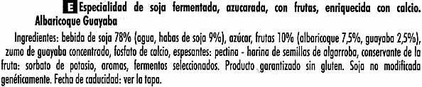 """Postre de soja """"Sojasun"""" Albaricoque y guayaba - Ingredients"""