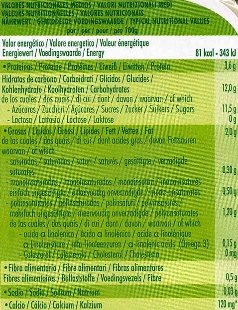 """Postre de soja """"Sojasun"""" Albaricoque y guayaba - Informació nutricional"""
