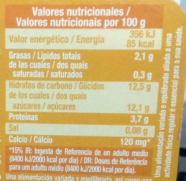 Postre Soja Mango - Nutrition facts