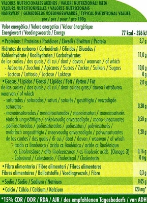 Postre de soja Limón - Información nutricional