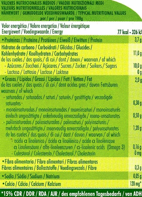 Postre de soja Limón - Información nutricional - es