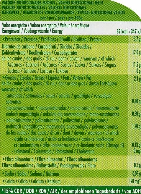 Postre de soja cereza - Información nutricional - es