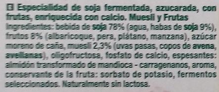 Postre de soja Muesli y Frutas - Ingredientes - es