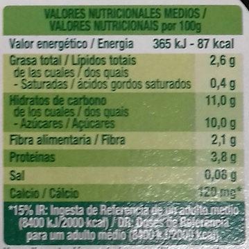Postre de soja Muesli y Frutas - Información nutricional - es