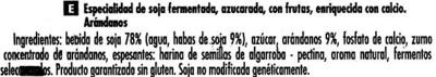 Postre de soja Arándanos - Ingredientes