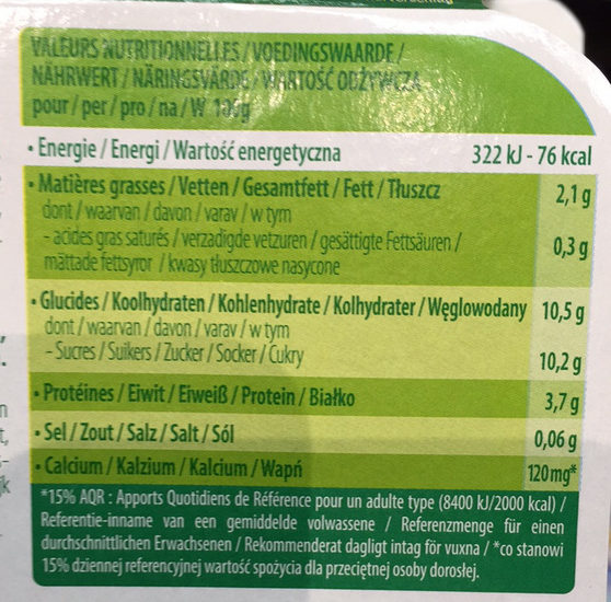 Postre de soja Arándanos - Información nutricional