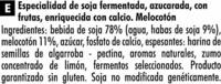 """Postre de soja """"Sojasun"""" Melocotón (2 Uds) - Ingredientes - es"""