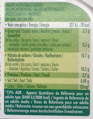 Dessert Végétale Mandarine Citron Vert - Información nutricional