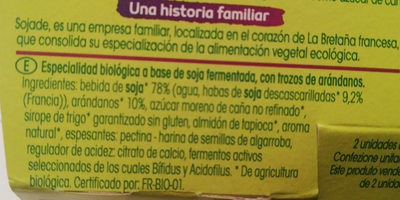 Yogurt Soja Arandanos - Ingredients