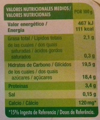 Flan sabor vainilla con caramelo - Información nutricional - es